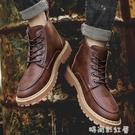馬丁靴靴子加絨雪地男鞋高幫皮鞋冬鞋中幫皮靴英倫棕色工裝靴男「時尚彩紅屋」