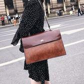 復古大包包女2018新款潮韓版百搭斜跨包時尚簡約公文包單肩手提包