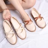 女鞋春夏季2018新款韓版百搭交叉帶淺口單鞋子女粗跟中跟小皮鞋 瑪麗蘇
