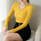 網紗V領純色修身顯瘦長袖針織衫上衣1852PF310依佳衣