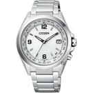 CITIZEN 星辰 鈦 光動能電波萬年曆腕錶-銀/40mm CB1070-56B