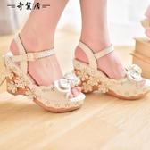 糖果雨2018新款夏季女生lolita日系甜美蝴蝶結鬆糕厚底坡跟涼鞋女