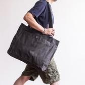 新品斜背包大容量潮挎包帆布TOTE男士單肩包手提包復古托特包B120