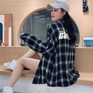 黑白格子襯衫女新款秋季韓版寬鬆襯衣外套純棉上衣學生寸衫 快速出貨