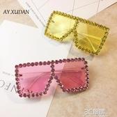 穿搭眼鏡 歐美風誇張重金屬眼鏡女潮大方框鑚彩色鏡片太陽鏡墨鏡舞台走秀 3C優購