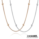 316L鈦鋼項鍊 鍍玫瑰金色 珠子造型 蛇鏈 精緻項鍊 生日禮物 閨蜜 單條價【AJS108】Z.MO鈦鋼屋