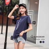 棉T--時尚個性風豎印字母寬鬆舒適修身百搭圓領短袖T恤(黑.藍L-4L)-T328眼圈熊中大尺碼