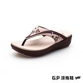 G.P (女)高臺優雅女夾腳拖 女鞋-咖啡(另有紫、桃紅)