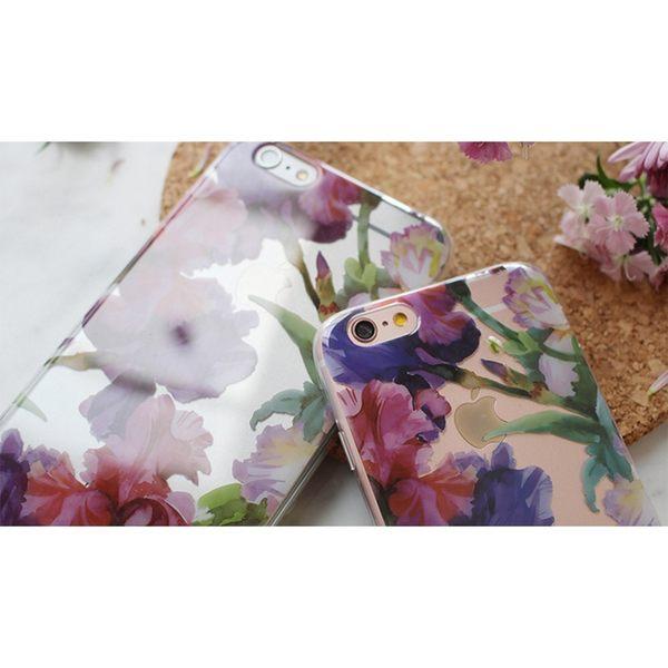 iPhone手機殼 粉紫鳶尾花 透明超薄光面軟殼全包 蘋果iPhone7/iPhone6手機殼