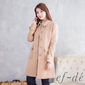 【ef-de】都會風排釦翻領氣質大衣外套(卡其)