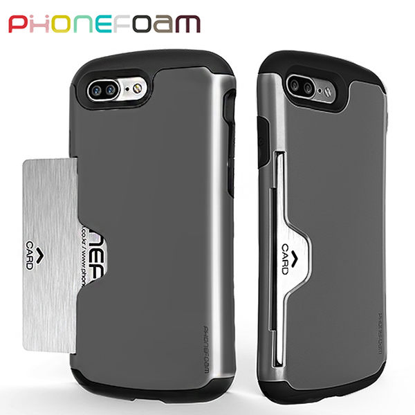 PhoneFoam Golf iPhone7 Plus 插卡式防震保護殼(灰)