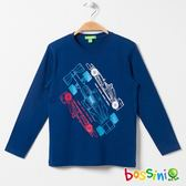 印花長袖T恤01海藍-bossini男童