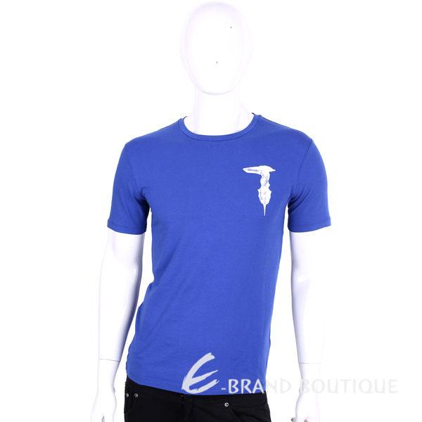 TRUSSARDI-JEANS 藍色品牌字母棉質短袖T恤 1620453-23