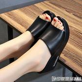 2019夏季新款外穿厚底防滑涼鞋坡跟高跟平底一字拖防水台涼拖鞋女 印象家品旗艦店