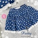 海洋藍水玉點點織花邊褲裙短褲(310314)【水娃娃時尚童裝】