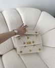 ■專櫃77折■全新真品■Valentino Roman 羊皮大鉚釘羅紋針織羅馬 2用包