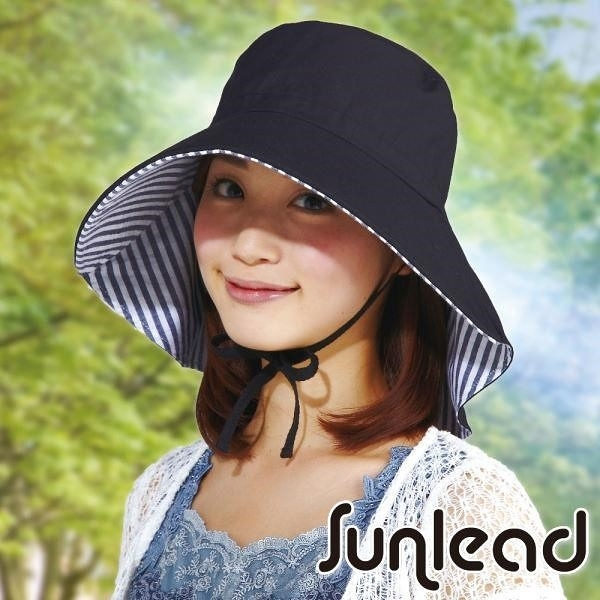 【南紡購物中心】Sunlead 防吹落寬緣款。雙色護頸透氣抗UV寬圓頂防曬遮陽帽 (黑色/條紋)