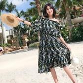 洋裝 夏季雪紡印花一字肩度假連身裙海邊沙灘裙夏日清涼裙