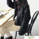 牛仔外套 黑灰色短款牛仔外套女春季新品正韓學生風寬鬆百搭夾克上衣S-L