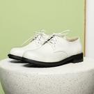 全真皮綁帶寬楦厚底德比鞋-米白色‧karine(MIT台灣製)