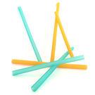 【美國 silikids】果凍餐具 – 六入矽膠吸管組(三種尺寸)- 黃+綠