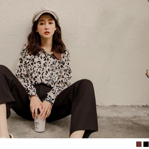 《AB11587-》流行豹紋配色領襯衫上衣 OB嚴選