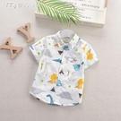 男童襯衫夏季男童短袖花襯衫薄款寶寶純棉卡通襯衣中小童韓版兒童上衣 快速出貨