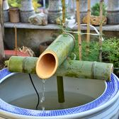 純手工竹子流水器 真竹子老楠竹竹筒流水擺件    盆景魚缸加濕器 滿千89折限時兩天熱賣