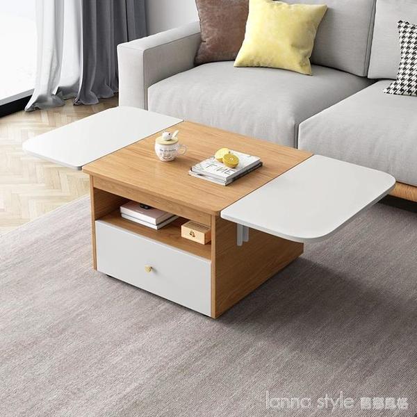 折疊茶几餐桌兩用現代簡約小戶型客廳家具北歐家用多功能移動茶桌 全館新品85折