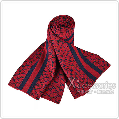 GUCCI經典GG緹花LOGO條紋設計羊毛圍巾(灰)