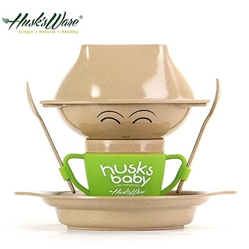 【南紡購物中心】【Husk's ware】美國Husk's ware稻殼天然無毒環保兒童餐具經典人偶款-綠色