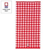 Sanrio HELLO KITTY日本製今治純棉浴巾(紅格紋)★funbox★_669067
