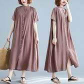 短袖連身裙-純色輕薄過膝休閒女洋裝7色73xz17[巴黎精品]