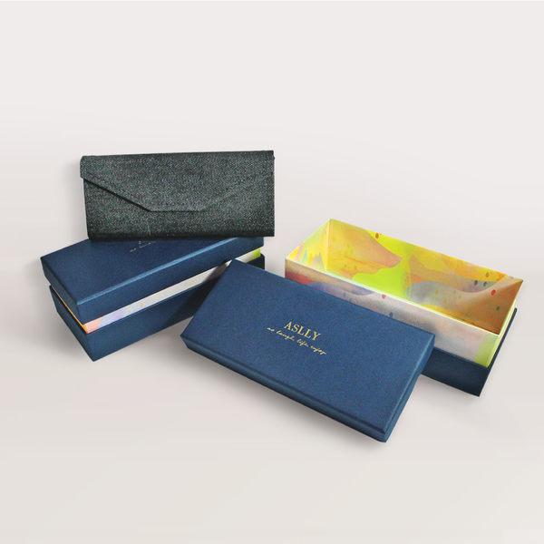 ASLLY濾藍光眼鏡-深藍布紋高質感眼鏡禮物盒