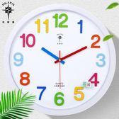 北極星14英寸可愛卡通創意掛鐘兒童房臥室靜音石英鐘客廳鐘錶掛錶 igo