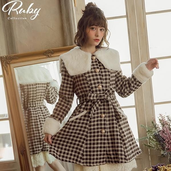外套 絨毛娃娃領格紋綁帶毛呢外套-Ruby s 露比午茶