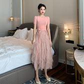洋裝 套裝裙 法式復古法國小眾過膝裙子兩件套裝 巴黎春天
