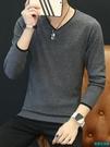 秋冬季男士毛衣韓版潮流v領個性打底衫長袖加絨加厚線衣針織衫男