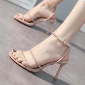 一字帶2020年夏季新款涼鞋女性感細跟露趾水鑽百搭網紅時裝高跟鞋 露露日記