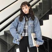 單寧牛仔外套 秋裝女裝韓版寬鬆原宿風外套復古做舊學生短款長袖牛仔夾克上衣潮-BB奇趣屋