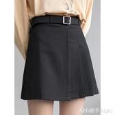EGGKA西裝短裙黑色百褶裙高腰a字裙半身裙女夏顯瘦春學院風不規則 青木鋪子