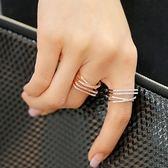 戒指 925純銀 鑲鑽-亮眼多層生日情人節禮物女開口戒3色73dv4【時尚巴黎】