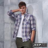 【JEEP】法蘭絨格紋雙口袋長袖襯衫 (海洋藍)