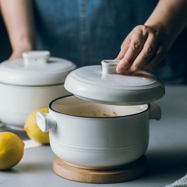 簡約釉下彩線條陶瓷雙耳面碗帶蓋 泡麵碗家用餐具湯碗大號燉盅【小梨雜貨鋪】