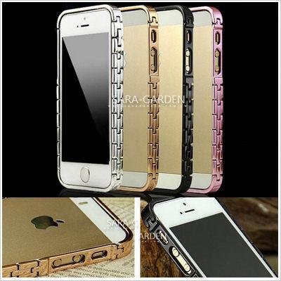手錶鏈 歐美 奢華 品味 金屬 邊框 防指紋 iPhone 5 5S 手機殼 保護套 Sara Garden 【A0422010】