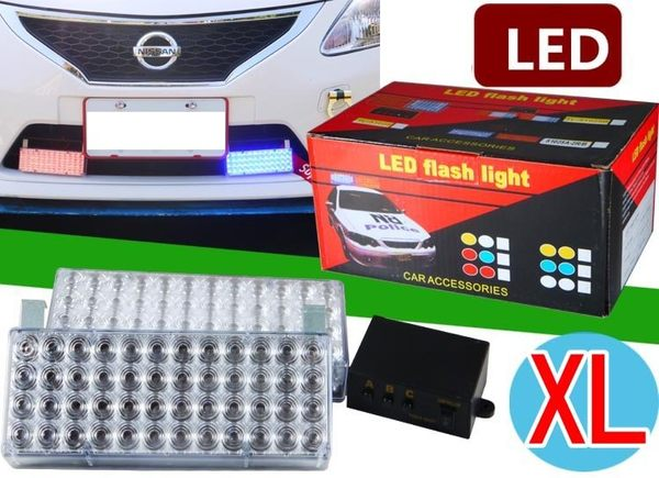 48顆燈 加長型 3段式 長型 紅藍 LED將軍燈 閃爍燈 爆閃燈 警示燈 長官燈 廟會前導車