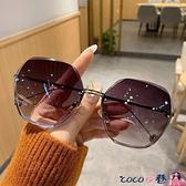 墨鏡 新款無框切邊太陽鏡潮小紅書氣質墨鏡女大臉顯瘦時尚眼鏡防紫外線 coco