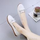 平底女式皮鞋上班舒適防滑百搭懶人一腳蹬休閒豆豆鞋女韓版樂福鞋 依凡卡時尚