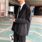 西裝男 秋季港風西裝外套男新款休閑學生黑色單西韓版潮流文藝西服上衣潮【免運】