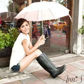◇Ann'S◇倫敦漫步~純色釦帶顯瘦騎士雨靴 *黑